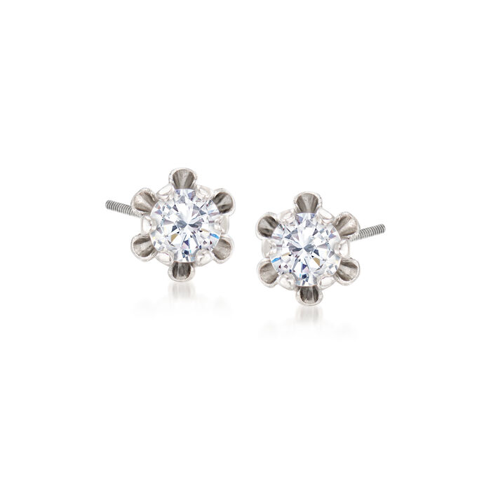Child's Diamond-Accented Stud Earrings in 14kt White Gold