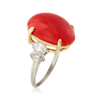 C. 1960 Vintage Red Coral and .40 ct. t.w. Diamond Ring with 14kt Yellow Gold in Platinum. Size 6, , default