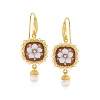 Italian 5mm Cultured Pearl, .45 ct. t.w. CZ and Brown Shell Floral Cameo Drop Earrings in 18kt Gold Over Sterling