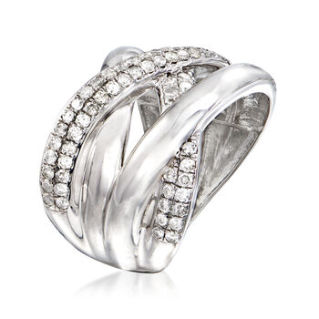 1.00 ct. t.w. Pave Diamond Highway Ring in Sterling Silver, , default