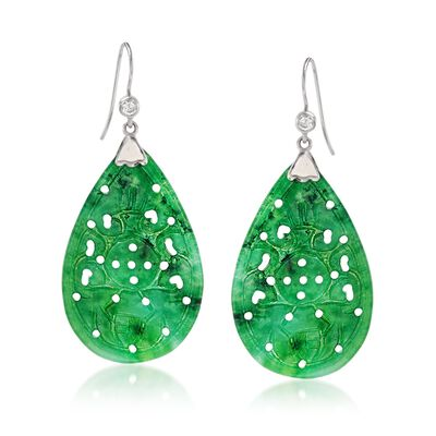 Carved Jade Drop Earrings with .20 ct. t.w. White Topaz in Sterling Silver, , default