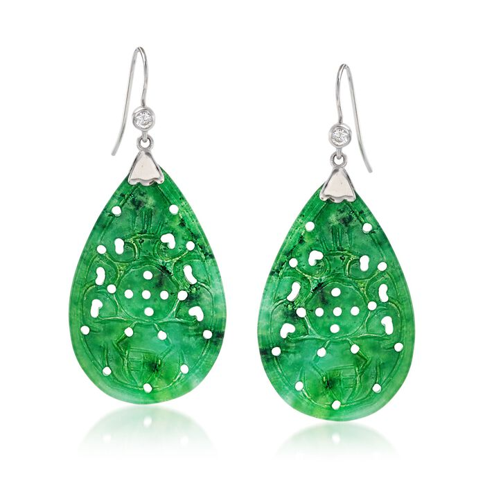 Carved Jade Drop Earrings with .20 ct. t.w. White Topaz in Sterling Silver , , default