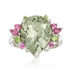 C. 2010 Vintage 8 Carat Green Prasiolite and Multi-Gemstone Ring in 10kt White Gold, , default