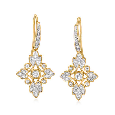 .50 ct. t.w. Diamond Floral Drop Earrings in 14kt Yellow Gold