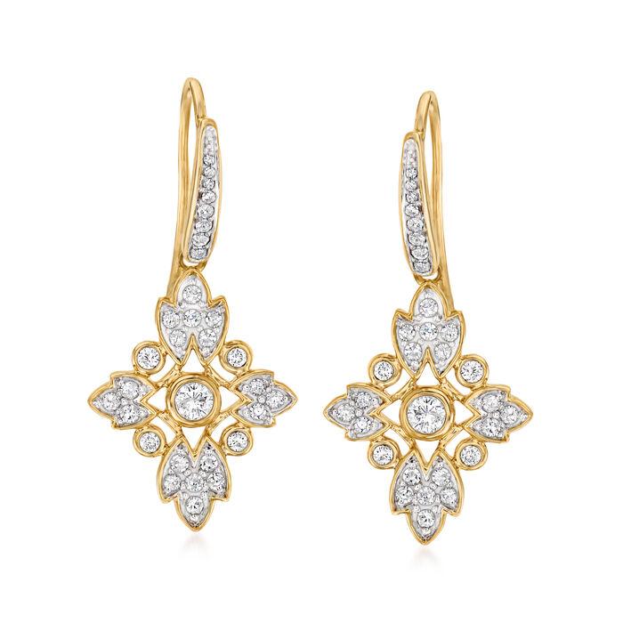 .50 ct. t.w. Diamond Floral Drop Earrings in 14kt Yellow Gold