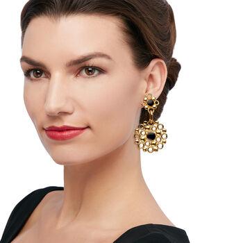 Italian 14kt Yellow Gold Multi-Circle Drop Earrings with Black Enamel, , default