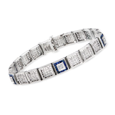 C. 1950 Vintage 2.00 ct. t.w. Synthetic Sapphire and .20 ct. t.w. Diamond Link Bracelet in 14kt White Gold