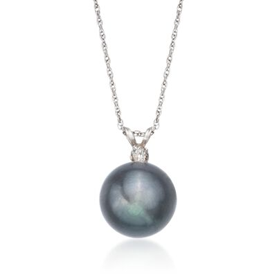 11mm Black Cultured Pearl Pendant Necklace with Diamond in 14kt White Gold, , default