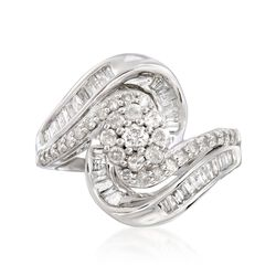 .99 ct. t.w. Diamond Cluster Wavy Ring in Sterling Silver , , default