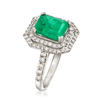3.00 Carat Emerald and 1.60 ct. t.w. Diamond Ring in 14kt White Gold, , default