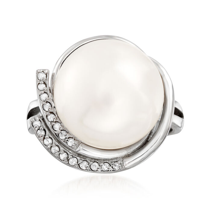 13-13.5mm Cultured Pearl and .10 ct. t.w. Diamond Ring in Sterling Silver