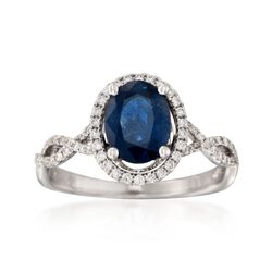 1.50 Carat Sapphire and .28 ct. t.w. Diamond Ring in 18kt White Gold, , default