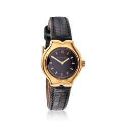C. 1990 Vintage Tiffany Jewelry Women's 24mm 18kt Yellow Gold Watch With Black Leather. Size 7, , default