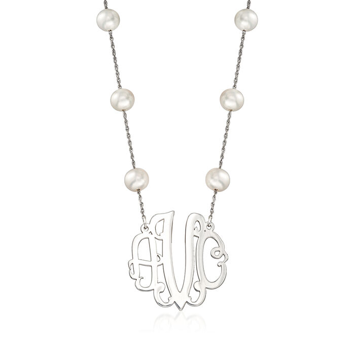 6-7mm Cultured Pearl Station Medium Monogram Necklace in Sterling Silver