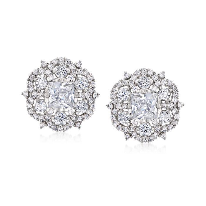 2.70 ct. t.w. CZ Earrings in Sterling Silver