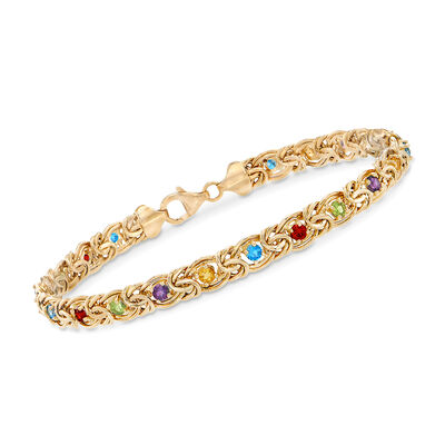 3.40 ct. t.w. Multi-Stone Byzantine Bracelet in 14kt Yellow Gold, , default