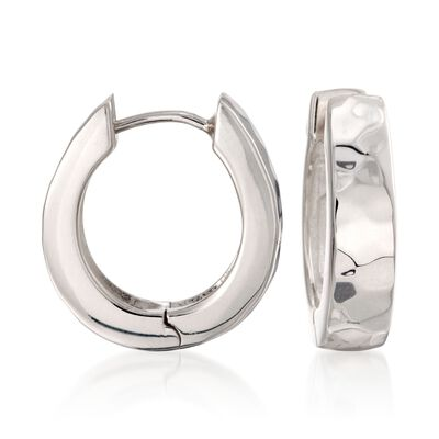 "Zina Sterling Silver ""Sahara"" Oblong Hoop Earrings"