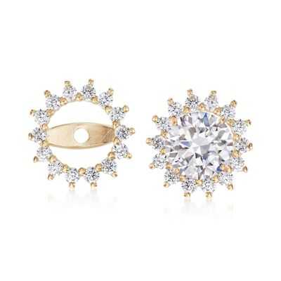 .25 ct. t.w. CZ Starburst Earring Jackets in 14kt Yellow Gold, , default