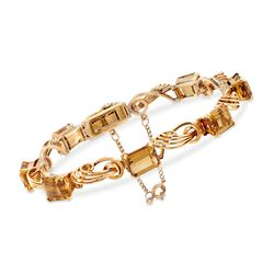 "C. 1950 Vintage 15.00 ct. t.w. Citrine Swirl-Link Bracelet in 18kt Yellow Gold. 7.5"", , default"