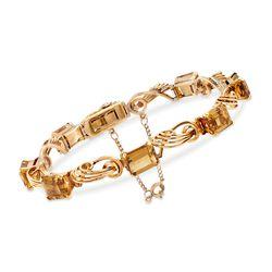 C. 1950 Vintage 15.00 ct. t.w. Citrine Swirl-Link Bracelet in 18kt Yellow Gold, , default