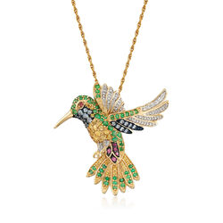 "1.96 ct. t.w. Multi-Stone Hummingbird Pin Pendant Necklace With Diamonds in 18kt Gold Over Sterling. 18"", , default"