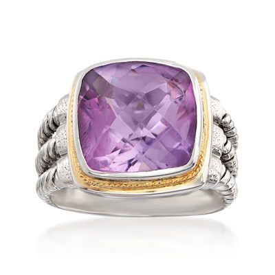 7.50 Carat Bezel-Set Amethyst Ring in Sterling Silver and 14kt Yellow Gold, , default