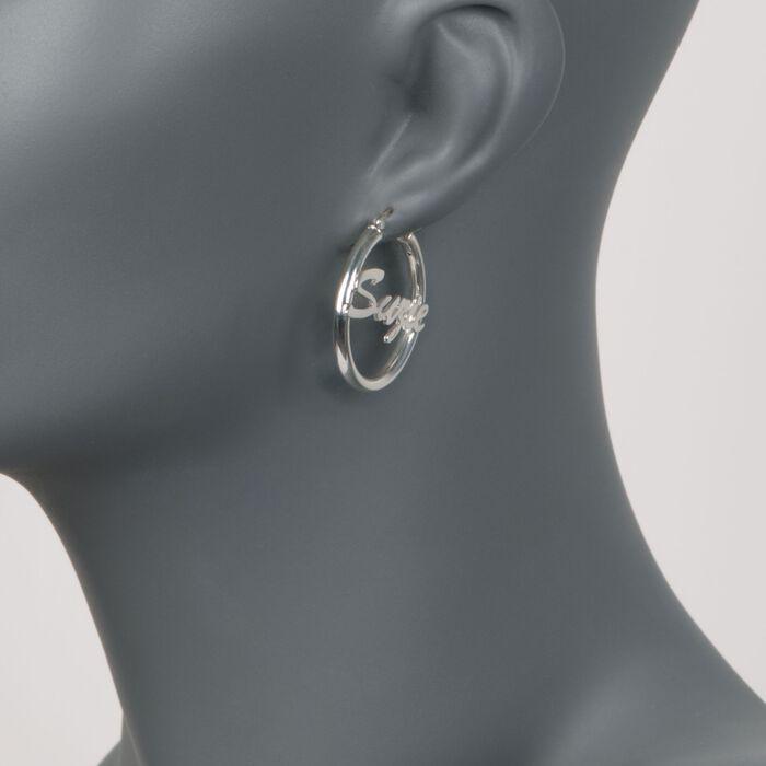 Sterling Silver Script Name Hoop Earrings