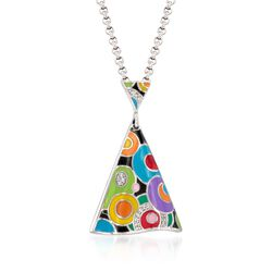 "Belle Etoile ""Groovy"" Multicolored Enamel Pendant With CZ Accents in Sterling Silver, , default"