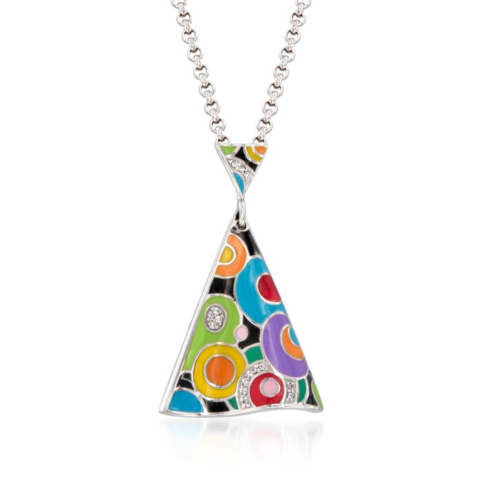 """Belle Etoile """"Groovy"""" Multicolored Enamel Pendant With CZ Accents in Sterling Silver, , default"""
