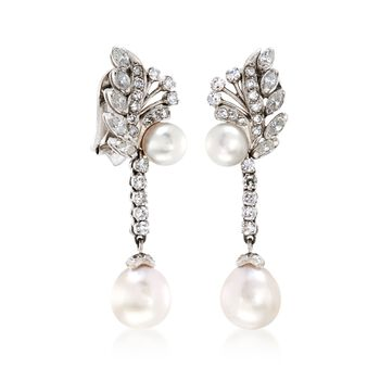 C. 1960 Vintage 7-9mm Cultured Pearl and 1.70 ct. t.w. Diamond Clip-On Earrings in 14kt White Gold, , default