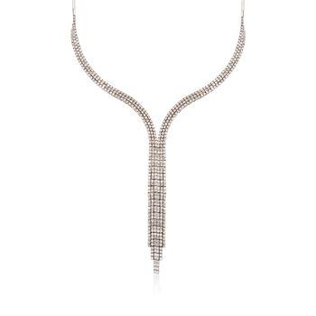 "C. 1990 Vintage 12.60 ct. t.w. Diamond Tassel Necklace in 18kt White Gold. 16"", , default"
