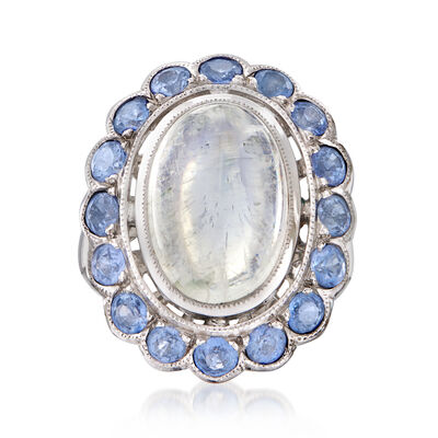 C. 1980 Vintage Moonstone and 2.40 ct. t.w. Sapphire Ring in 18kt White Gold, , default