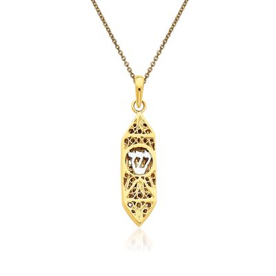 14kt Two-Tone Gold Mezuzah Pendant Necklace, , default