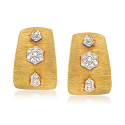 C. 1980 Vintage .50 ct. t.w. Diamond J-Hoop Earrings in 18kt Yellow Gold, , default