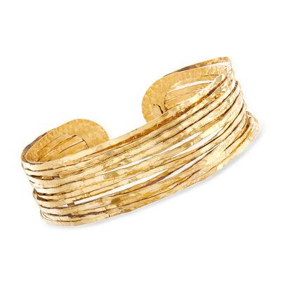 Italian 18kt Yellow Gold Cuff Bracelet, , default