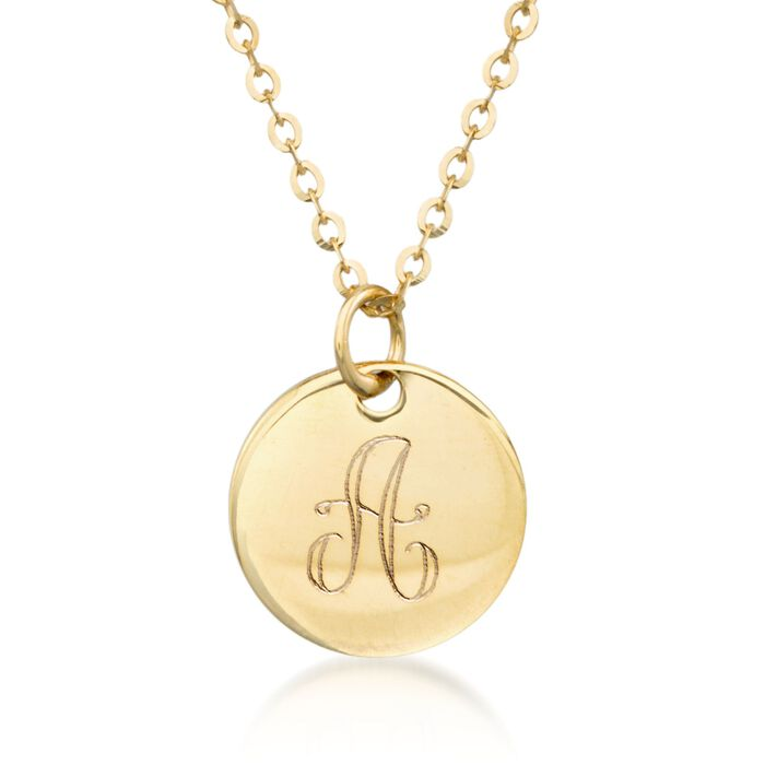 Italian 14kt Yellow Gold Single Initial Petite Circle Charm Necklace
