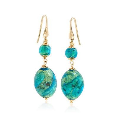Italian Green Murano Bead Drop Earrings in 18kt Yellow Gold Over Sterling Silver, , default