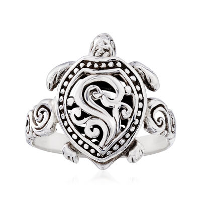 Sterling Silver Filigree Turtle Ring, , default