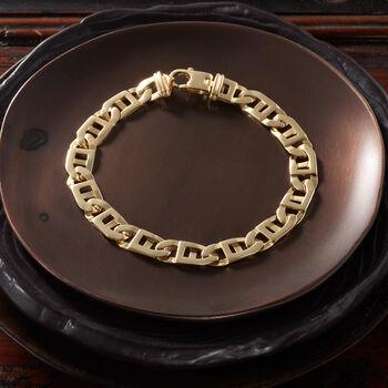 "Men's 14kt Yellow Gold Window-Link Bracelet. 8.5"""