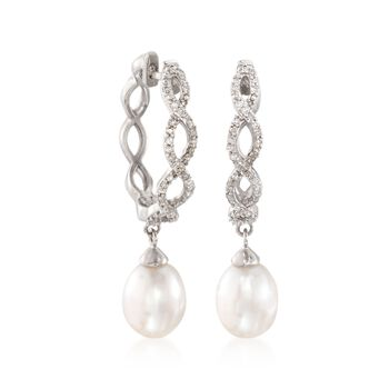 "7-7.5mm Cultured Pearl and .20 ct. t.w. Diamond Braided Hoop Drop Earrings in Sterling Silver. 1 1/8"", , default"
