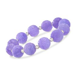 12mm Carved Lavender Jade Bead Stretch Bracelet With Sterling Silver, , default