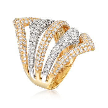 2.00 ct. t.w. Pave Diamond Five-Row Ring in 14kt Two-Tone Gold, , default