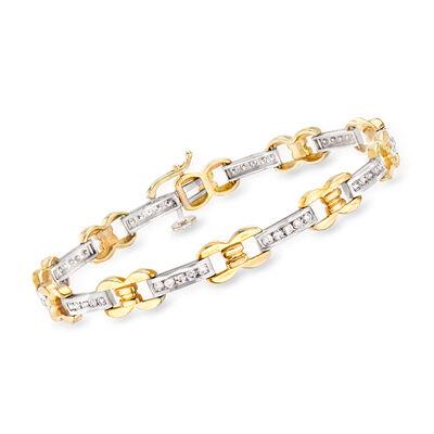 1.00 ct. t.w. Diamond 14kt Two-Tone Gold Link Bracelet, , default