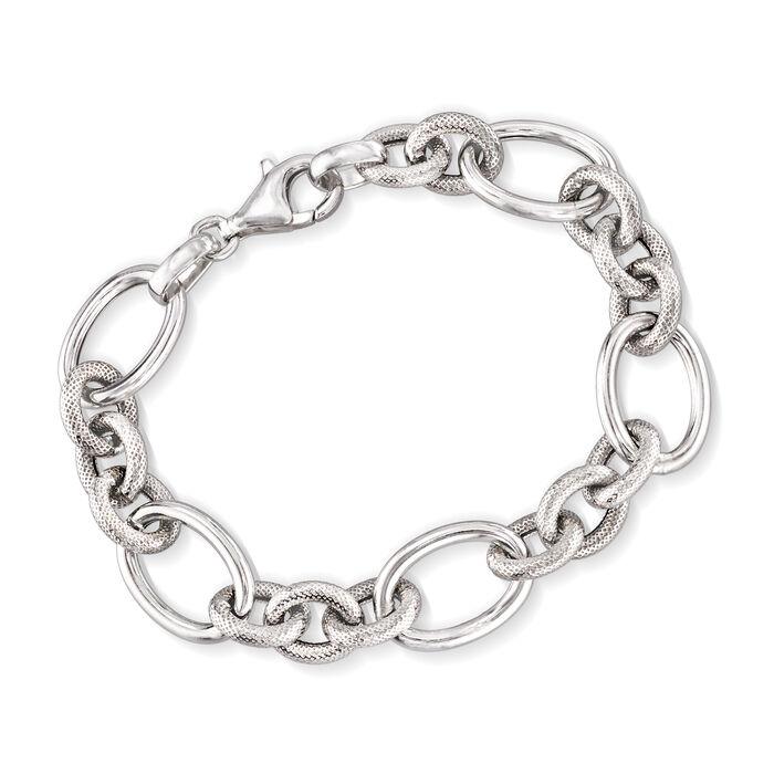Italian Sterling Silver Oval-Link Bracelet, , default