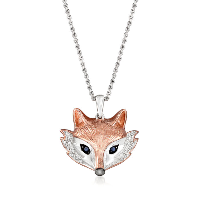 Two-Tone Sterling Silver Fox Pendant Necklace with Diamond and Sapphire Accents