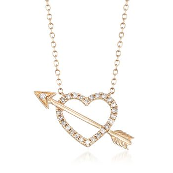 """.15 ct. t.w. Diamond Openwork Heart and Arrow Necklace in 14kt Yellow Gold. 16"""", , default"""