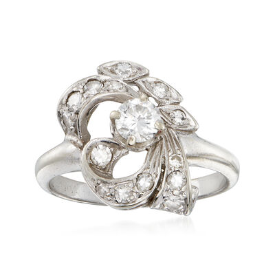C. 1960 Vintage .65 ct. t.w. Diamond Cluster Ring in 14kt White Gold, , default