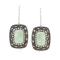 Green Jade and Marcasite Drop Earrings in Sterling Silver, , default