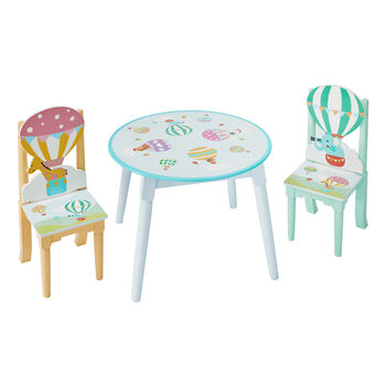 Child's Hot Air Balloons 3-pc. Wooden Set: Table and 2 Chairs, , default