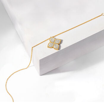 """Roberto Coin """"Princess"""" .45 ct. t.w. Diamond Flower Necklace in 18kt Yellow Gold. 16.5"""""""